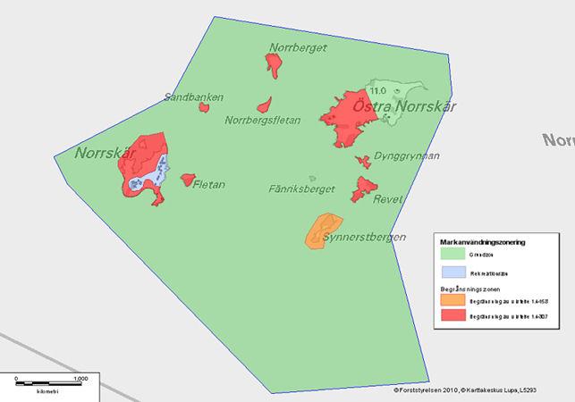 Kartta alueen vyöhykkeistä (s 61 Hoito- ja käyttösuunnitelmassa)