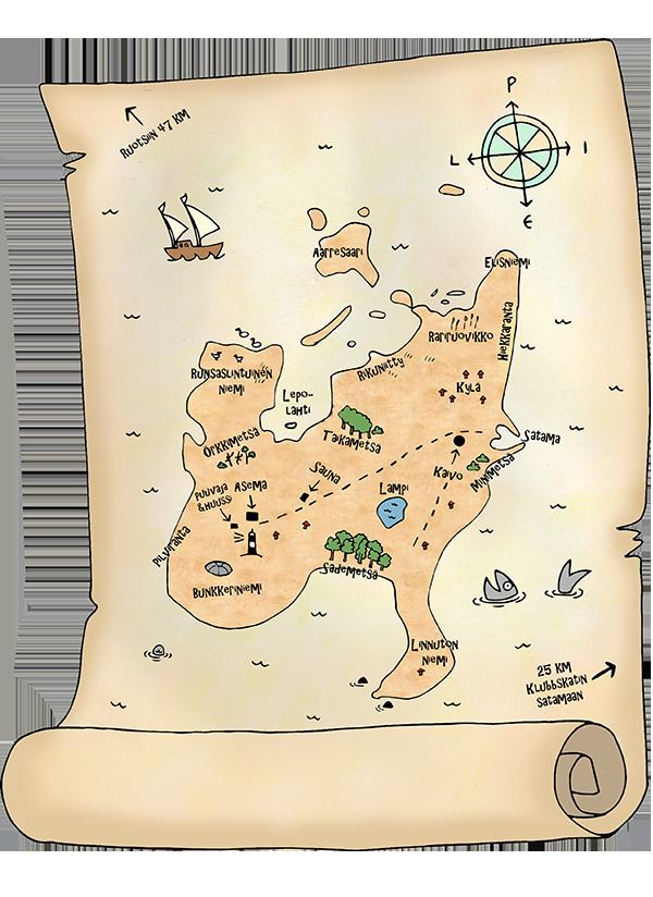 Västra Norrskärin kartta. Piirtänyt: Kuvittaja Anna Tiitola