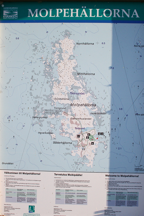 Saaren opaskartta.